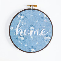 Home - scripted text embroidery hoop - quote home decor - seasonal wall art - living room entertaining - dinner party