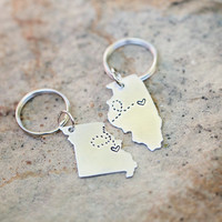 CUSTOM Long Distance Relationship KEYCHAINS - Set of TWO State Maps with Love Trails