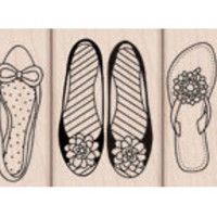 Shoes Trio Stamps (Flats & Sandal) - Woodblock Craft Stamp (LP196)