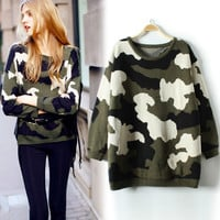 Vintage Camouflage Thick Crew Sweater