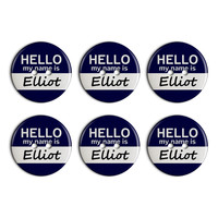 Elliot Hello My Name Is Plastic Resin Button Set of 6