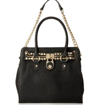 Studded Black Structured Satchel Shoulder Trendy Tote Zippered Handbag