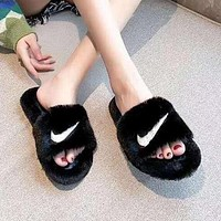 Nike fashion trend ladies rabbit fur slippers flip flops
