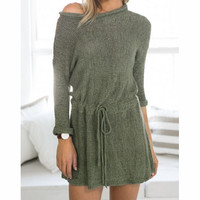 SOLID COLOR ROUND NECK KNIT DRESS