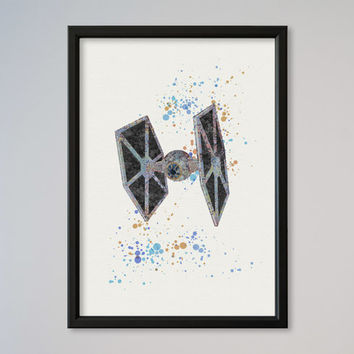Star Wars TIE Fighter Poster Watercolor Print StarWars Wall Decor Wall Hanging Movie Poster Galactic Empire Ship starfighters
