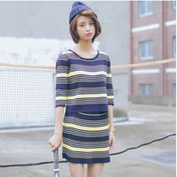 Vertical Stripes Mid Sleeve Blouse and Pleated Skirt