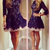 Long Sleeve Homecoming Dress,Blace Long Lace Homecoming Dreses