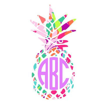 Pineapple Lilly Pulitzer Monogram  Decal, Lilly Inspired Decal Monogram Lilly Pulitzer Lilly car decal, Lilly Pulitzer Yeti Custom Decal