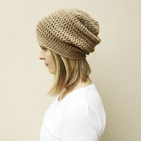 Tan Slouchy hat, Woman's taupe brown beanie, fall fashion accessory, crochet hat, gift for her, ready to ship