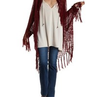 Oxblood Open Knit Fringe Cocoon Cardigan Sweater by Charlotte Russe