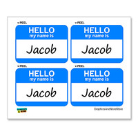 Jacob Hello My Name Is - Sheet of 4 Stickers