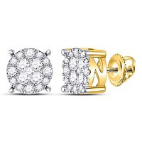 14kt Yellow Gold Women's Diamond Circle Frame Cluster Earrings 1.00 Cttw