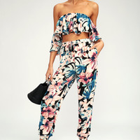 Boracay Black Tropical Print Jogger Pants