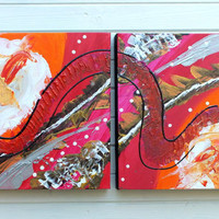 Original Abstract Art Painting Orange Magenta Loose Connections Acrylic on Canvas Duo