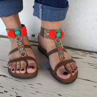 Brown Sandals with Beads and Red Pom Pom