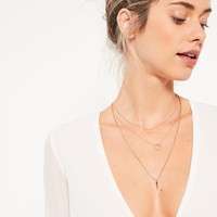 Missguided - Gold Diamante Layered Necklace