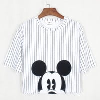 White Striped Cartoon Mickey Print Short Sleeve Cropped Top