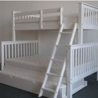 Bedz King Bunk Bed with Twin Trundle, Twin Over Full Mission Style, White