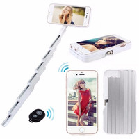 3 in 1 Handheld Selfie Stick phone case For iPhone 6 6s 6S plus Extendable Aluminum stick with Bluetooth Remote Controller
