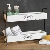 White Two-Tier Bath Caddy