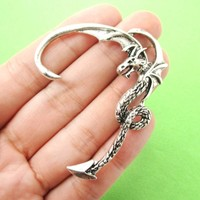 Detailed Dragon Shaped Animal Wrap Ear Cuff in Silver | Animal Jewelry