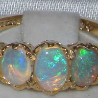 High Quality Solid Yellow 9K Gold Natural Opal English Victorian Engagement Ring - Made in England -Customize:9K,14K,18K,Yellow,Rose,White