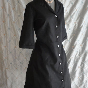 ON SALE XL // 50s Dress // Vintage 1950s Black Satin Taffeta Dress with Button Up Front and Full Skirt Size Xl 36 waist