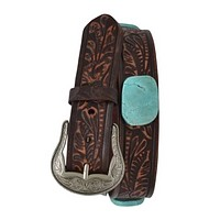Cowgirl Kim Brown Distressed Embossed Belt with Twin Slab Conchos (Small 28/30)