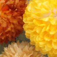 Autumn Pom Grouping with Goldenrod, Brown, Yellow & Tan / Fall Wedding / Nursery Decoration