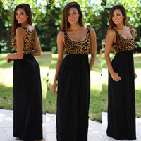 Leopard Patchwork Black Chiffon Sleeveless Casual Prom Dress One Piece Dress [6339072705]