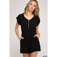 Romper with Front Zipper - Black  ONLY 1 SMALL LEFT