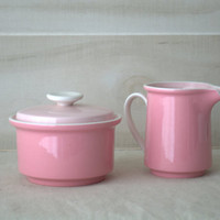 Vintage Pink Mikasa Creamer Pitcher and Sugar Bowl Set