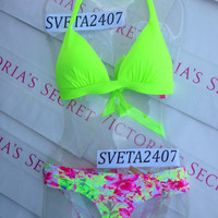 New Sexy Victoria's Secret Neon Margarita Green Triangle Push Up Bikini Set M S