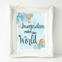 "Printable Imaginaion Quote, Nursey Wall Art, 8x10"" INSTANT DOWNLOAD"
