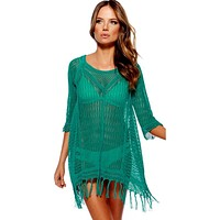 Beach Tunic Swimwear Knitted Hollow Cover Up Women Summer Beach Cover Up Crochet Swimsuit Tops Women Beach Wear