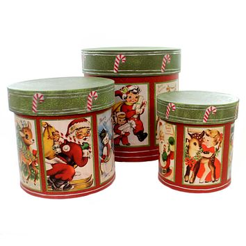 Christmas RETRO CHRISTMAS NESTING BOXES Paper Vintage Look Tp5283