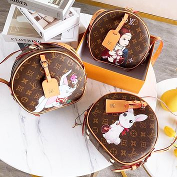 LV Louis Vuitton Fashion Women Leather Cute Circular Satchel Crossbody Shoulder Bag