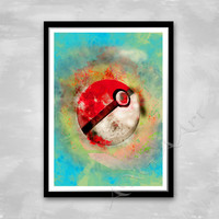 Pokeball, Pokemon Go, Watercolor art,  Instant download, Digital Print, Room decor, Wall print, RPG game character, Poké Ball