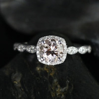 NEW Christie 2013 Collection 14kt White Gold Morganite Cushion Halo Engagement Ring (Other metals and stone options available)