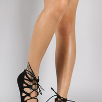 Pointy Toe Cutout Lace Up Ballet Flat