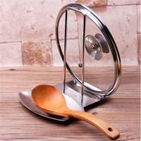 Stainless Steel Pan Pot Cover Lid Rack Stand Spoon Rest