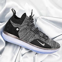 Bunchsun NIKE ZOOM KD11 Fashionable Men Breathable Sport Basketball Shoes Sneakers Grey