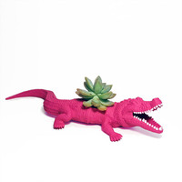 Up-cycled Pink Alligator Planter