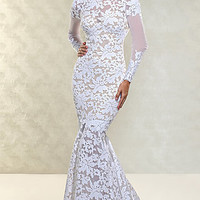 Floor Length Open Back Lace Gown by Xtreme