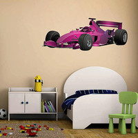 kcik187 Full Color Wall decal car racing formula race speed ring children's bedroom