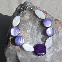 "Violet & Ivory Mother of Pearl Bracelet - ""Sea Berry"""