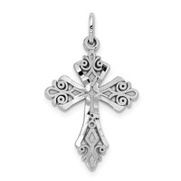 10k White Gold Diamond-Cut Cross Charm - Religious Jewelry