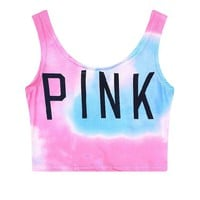 """Pink"" Victoria's Secret Print Multicolor Shirt Top Tee Vest"