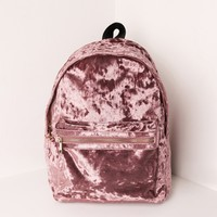 Missguided - Pink Velvet Backpack