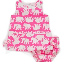Infant Girl's Lilly Pulitzer 'Baby Lilly' Cotton Shift Dress & Bloomers